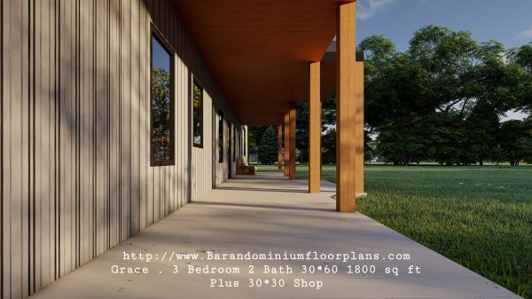 grace barndominium 3d rendering porch 1800 sq ft floor plan
