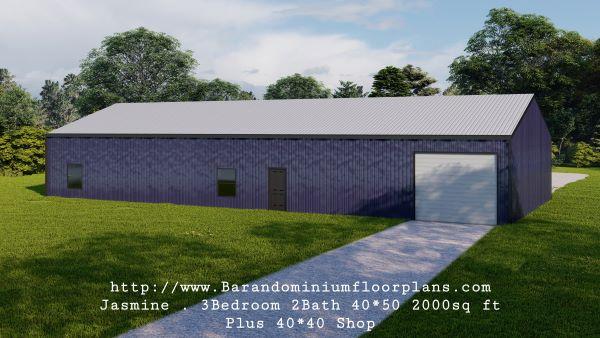 jasmine barndominium 3D rendering 2000 sq ft floor plan with master off the side plus shop