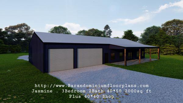 jasmine barndominium 3D rendering 2000 sq ft floor plan with shop