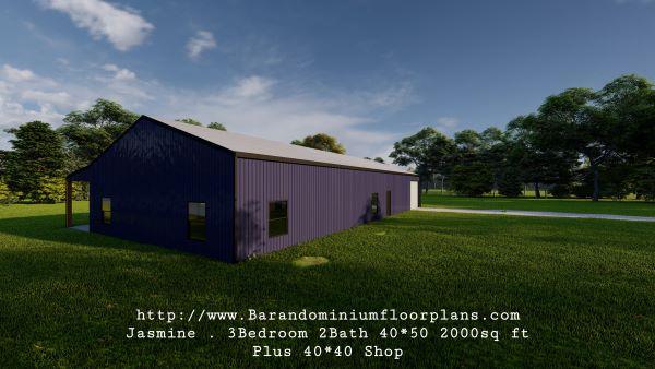 jasmine barndominium 3D rendering backview 2000 sq ft floor plan