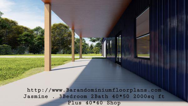 jasmine barndominium 3D rendering porch 2000 sq ft floor plan