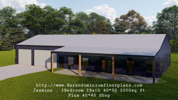 jasmine barndominium 3D rendering with master off the side 2000 sq ft floor plan