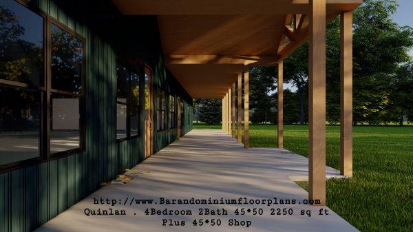quinlan barndominium 3d rendering 2250 sq ft floor plan porch