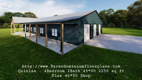 quinlan barndominium 3d rendering 2250 sq ft floor plan with shop