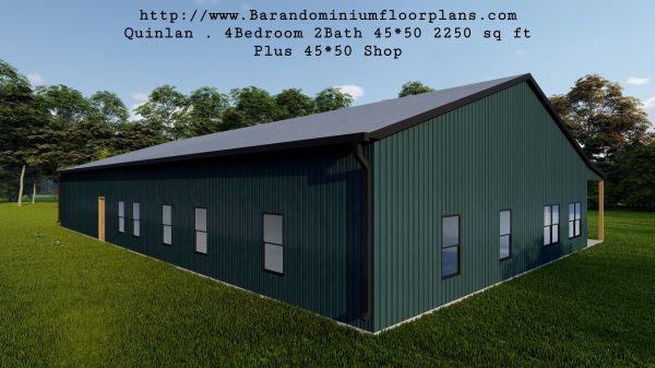 quinlan barndominium 3d rendering  back view 2250 sq ft floor plan