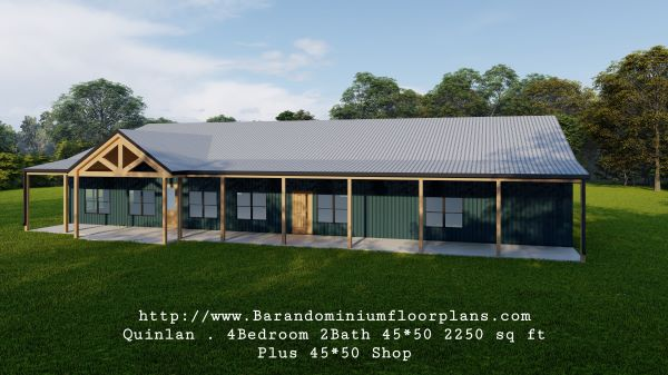 quinlan barndominium 3d rendering front view 2250 sq ft floor plan