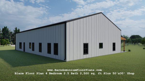 blaze barndominium 3d rendering back view 2500 sq. ft