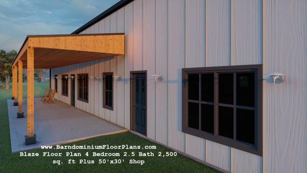 blaze barndominium 3d rendering covered porch 2500 sq. ft