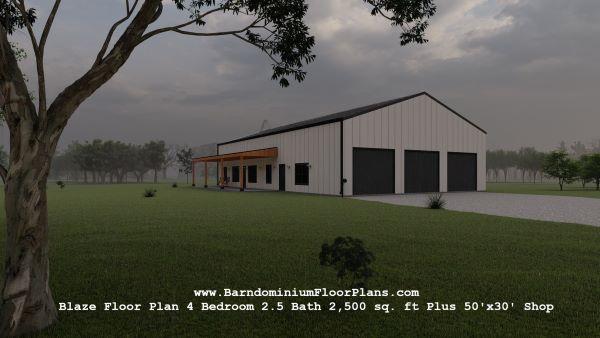 blaze barndominium 3d rendering front view 2500 sq. ft