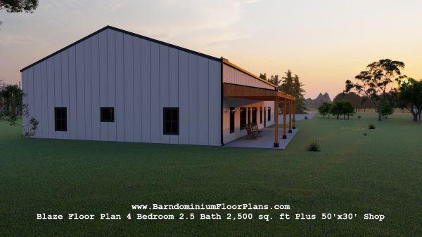 blaze barndominium 3d rendering left view 2500 sq. ft