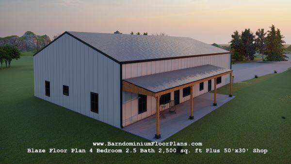 blaze barndominium 3d rendering top view 2500 sq. ft